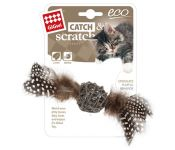 Gigwi Ecoline Catch & Scratch With Rattle Wood Rattan Feather (Black)