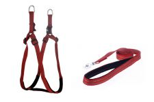 Kennel Padded Nylon Adjustable Harness & Padded Nylon Lead (W = 1