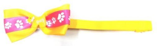 Fancy Neck Bow Paw Print Yellow & Pink For Small Pets